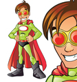 Green superhero cartoon vector