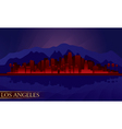 Los angeles night city skyline detailed silhouette vector