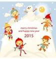 Winter fun snowman kids 2015 retro vector