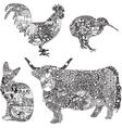Animals in ethnic ornaments vector