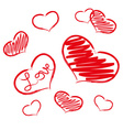 Red love heart symbols grunge hand-drawn eps10 vector
