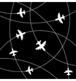 Airplanes background with trajectory vector