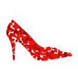 Shoe made from hearts vector