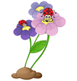 Flowers with ladybugs vector