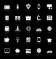 Businessman item icons with reflect on black vector