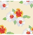 Seamless pattern with hibiscus-02 vector