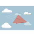 Red paper airplane flying in sky vector