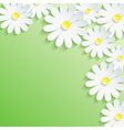 Summer background with 3d flower chamomile vector