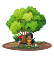 A young girl under the tree beside her books vector