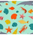Sea animals seamless pattern flat style vector