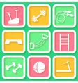 Set of 9 bright icons of the fintess club equipmen vector