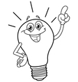 Outlined cartoon light bulb vector