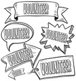 Doodle label tag banner volunteer vector