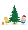Children and christmas fir tree vector