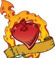 Flaming heart tattoo vector