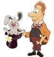 A magician and a rabbit cartoon vector
