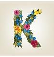 K letter flower capital alphabet colorful font vector