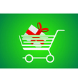 Trolley designed for shopping with a gift inside vector