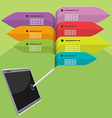 Tablet pen info graphic colorful vector