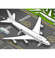 Isometric white airplane landed in front view vector