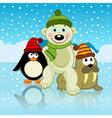 Polar bear walrus penguin friends vector