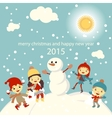 Set of characters funny kids winter snow 2015 vector