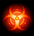 Red glowing biohazard sign on black background vector