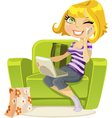Blonde sitting in chair vector