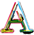 Grunge colorful font letter a vector