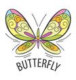 Logo graceful butterfly flies vector