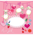Sheep pink card 2 380 vector
