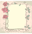 Floral frame with doodle elements vector