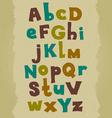 Grunge colorful font hand written doodle alphabet vector