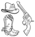 Doodle cowboy boots hat gun vector