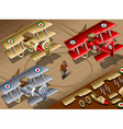 Isometric old vintage biplanes in rear view vector