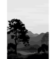 Mountain landscape with tree silhouettes vector