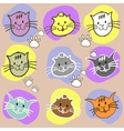 Seamless set different colors cats with vector