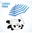 Little cute panda taking sunbath under blue vector