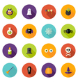 Halloween flat circle icons set vector