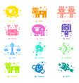 Neon sign effect 12 zodiac constellation mascot vector