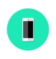 Modern white smartphone flat circle icon vector
