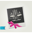 Photo frame with cute pink bow isolated vector