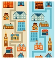 Town seamless patterns with cute colorful houses vector