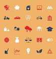 Sufficient economy flat icons with shadow vector