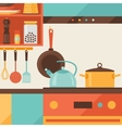 Card with kitchen interior and cooking utensils in vector