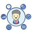 Businessman boss with office business symbol and vector