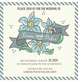 Wedding invitation blue flowers and ribbon vector