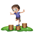 A young boy above the stump vector