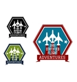 Flight adventures emblem or label vector