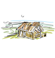 Colorful hand drawn house country house vector